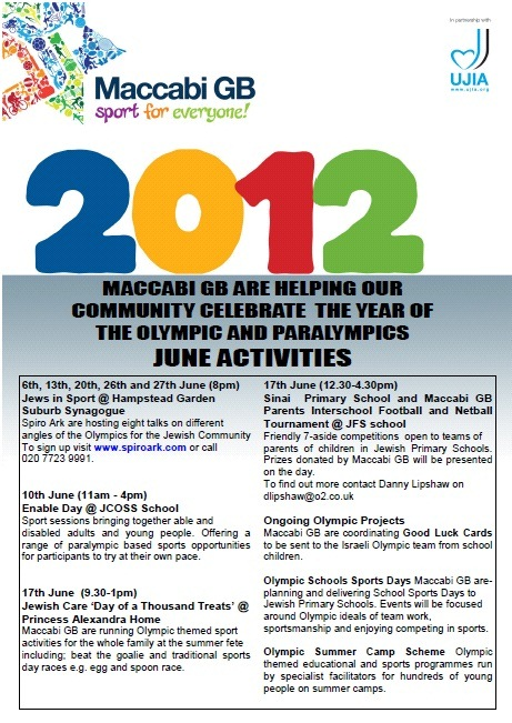 Maccabi GB's June Programme