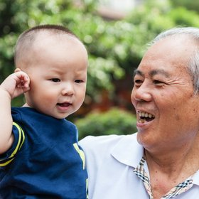 Granddad with granddaughter