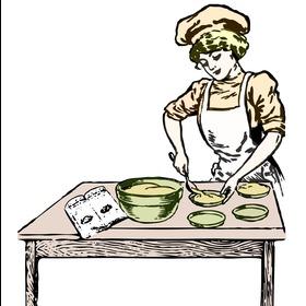 women baking a cake