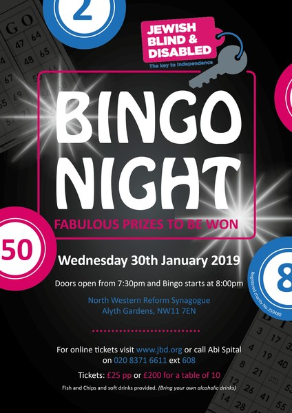 Jewish Blind & Disabled Bingo Night 2019