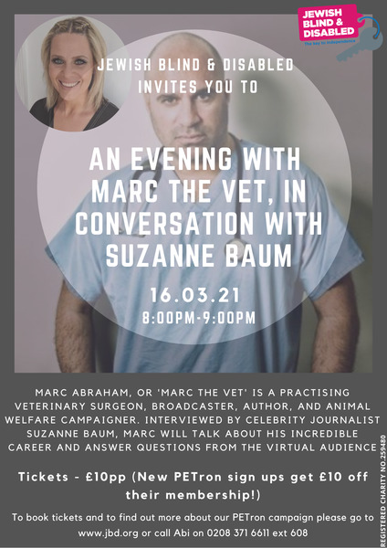 AN EVENING WITH  MARC THE VET, IN CONVERSATION WITH SUZANNE BAUM