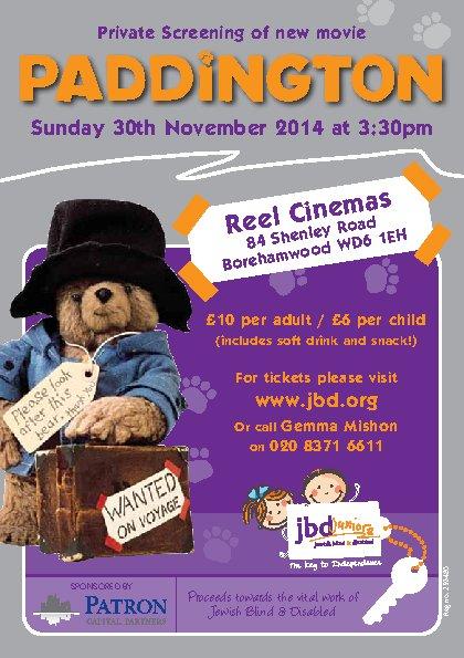 JBD Juniors - Private Screening of new movie -  Paddington