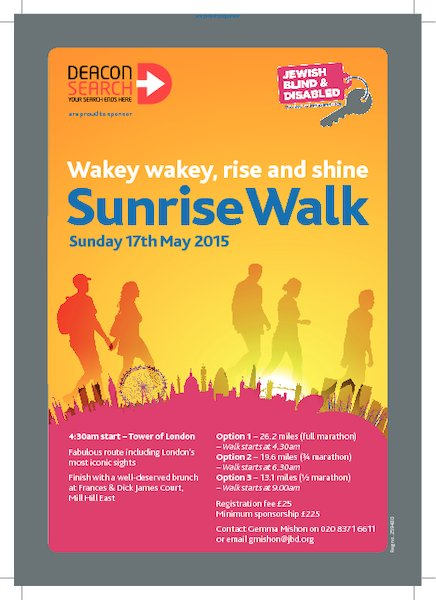 Sunrise Walk 2015 - Sunday 17th May