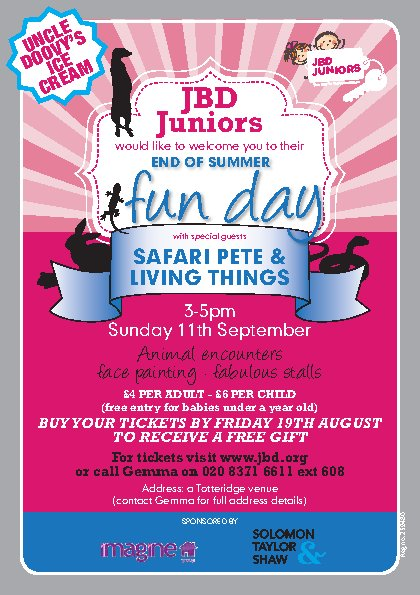 JBD Juniors' - End of Summer Fun Day with Safari Pete and Living Things